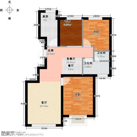 和成�园3室2厅1卫0厨90.00㎡户型图
