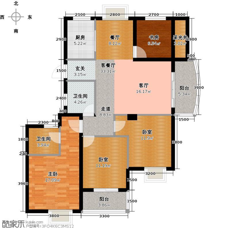 广厦天都城爱尚公寓119.77㎡A户型2室1厅2卫1厨