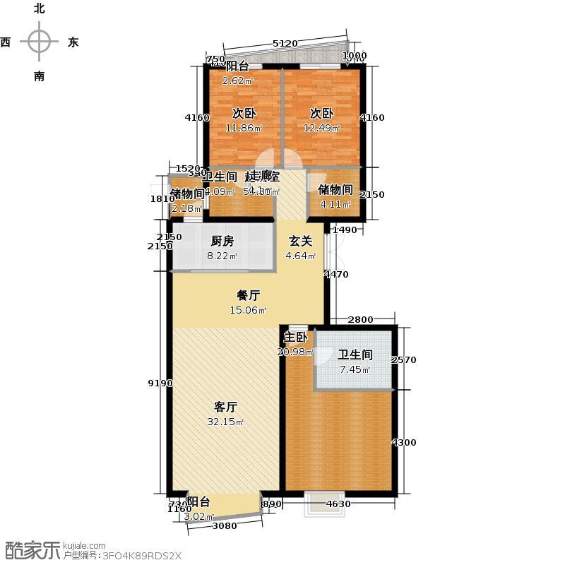 冠军壹号(冠军城)183.54㎡2号楼2、4单元D三室户型10室