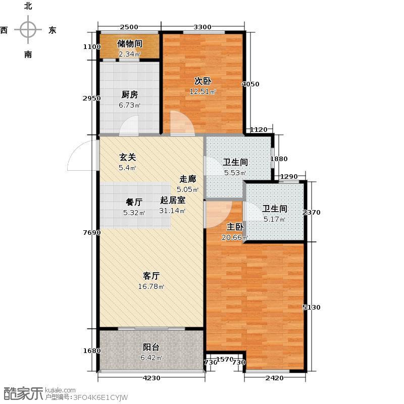 东渡青筑97.00㎡二期L户型2室2厅2卫