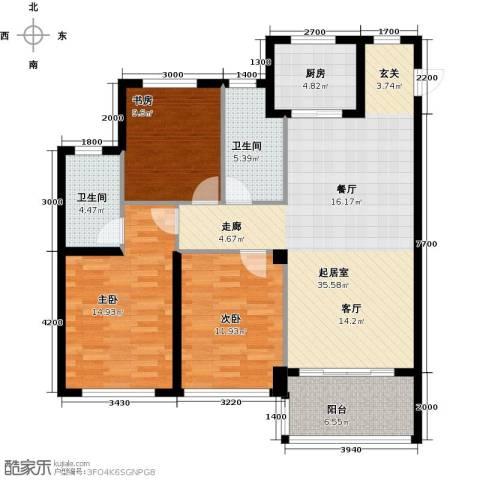 绿城之江1号3室2厅2卫0厨127.00㎡户型图