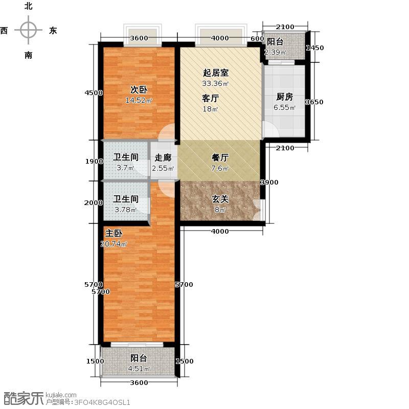 雍�台(诗芳苑)113.29㎡2号楼1单元西(2单元东)2室户型10室