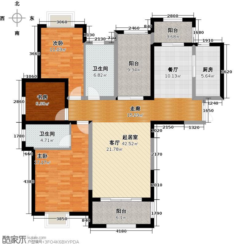 世茂西西湖131.00㎡2号楼2单元04室户型3室2厅2卫