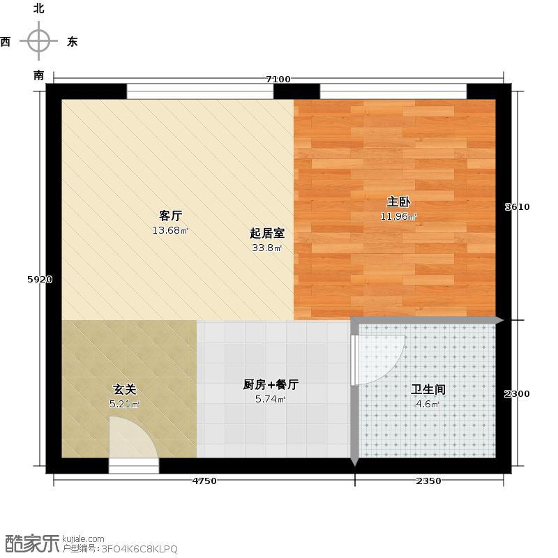 天鸿美和院42.00㎡soho平层A赠送户型1室1厅1卫