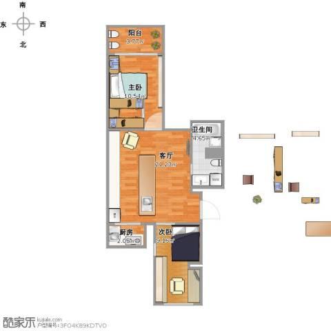 天秀花园2室1厅1卫1厨70.00㎡户型图