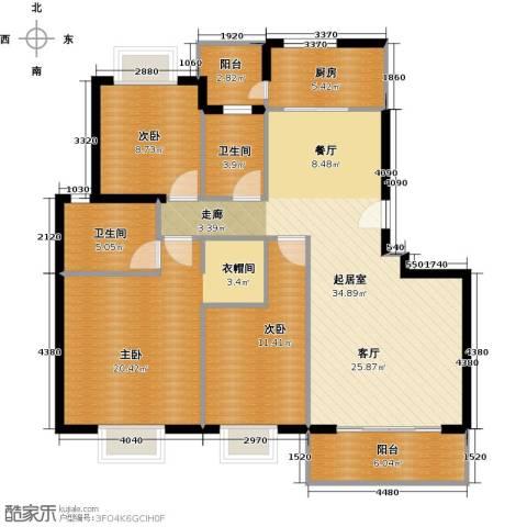 颐和盛世3室2厅2卫0厨124.00㎡户型图