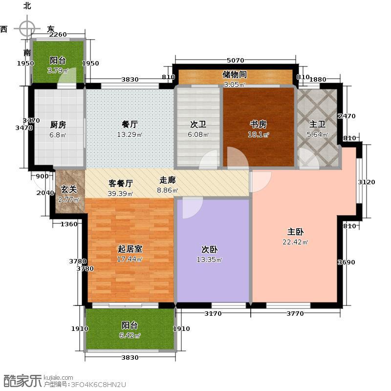 九龙仓世纪华府129.00㎡B2c可变户型3室2厅2卫