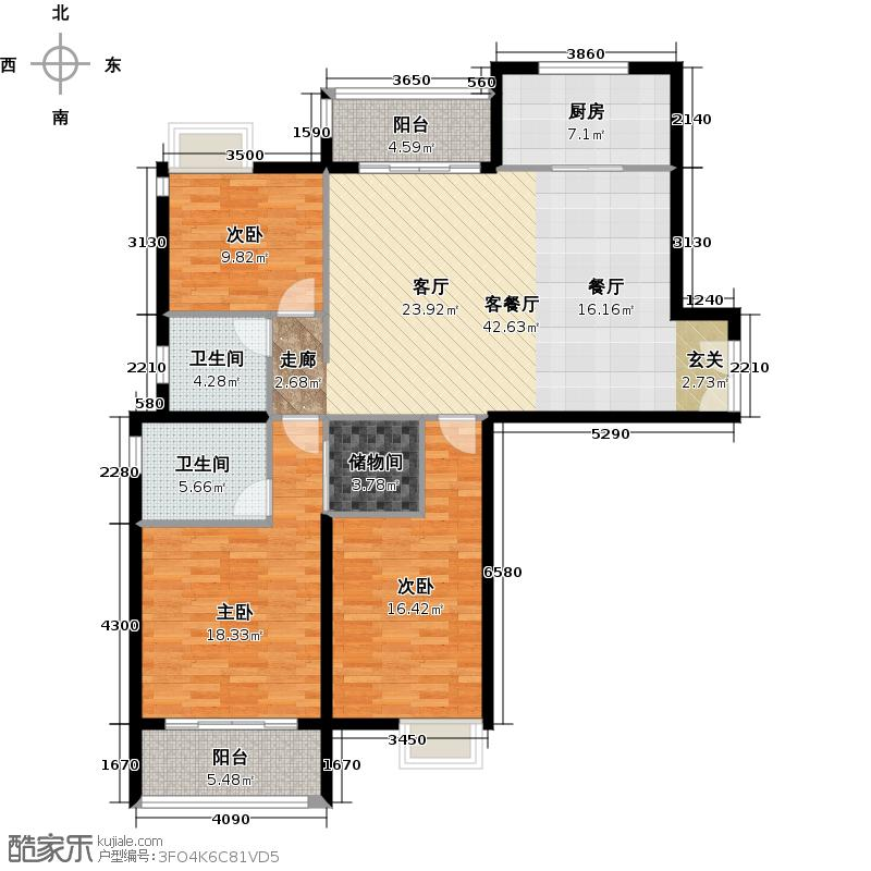 越秀星汇城132.00㎡CB3号楼和B4号楼边套户型3室2厅2卫