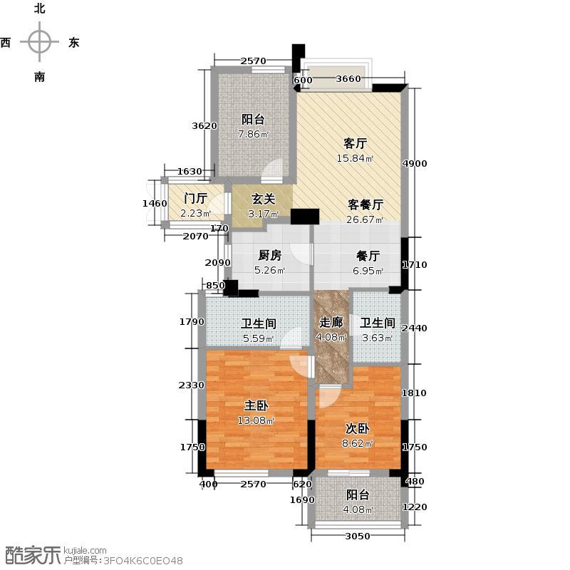 西溪海小海89.00㎡A3中间套户型3室2厅1卫