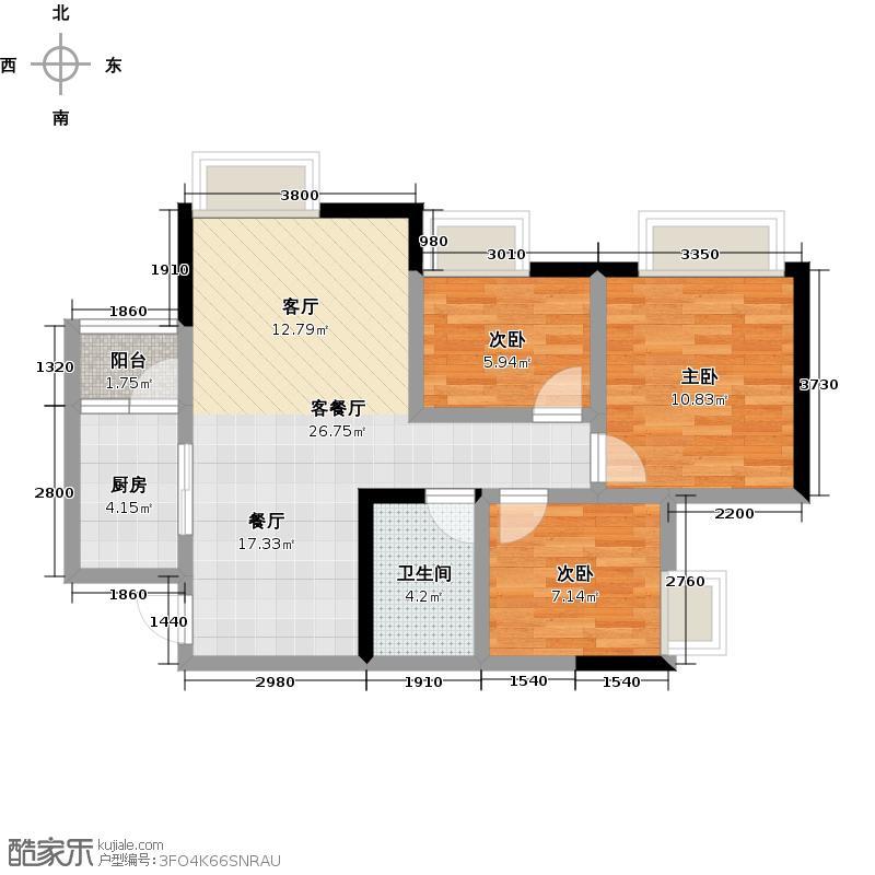 金科中心88.00㎡户型3室2厅1卫