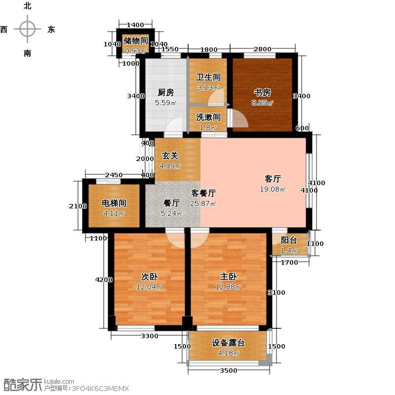 佳苑玉都枫景88.29㎡4、5号楼东边套D2户型3室2厅1卫