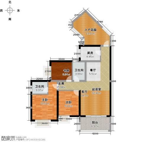 龙乡苑铜新花园3室2厅2卫0厨115.00㎡户型图