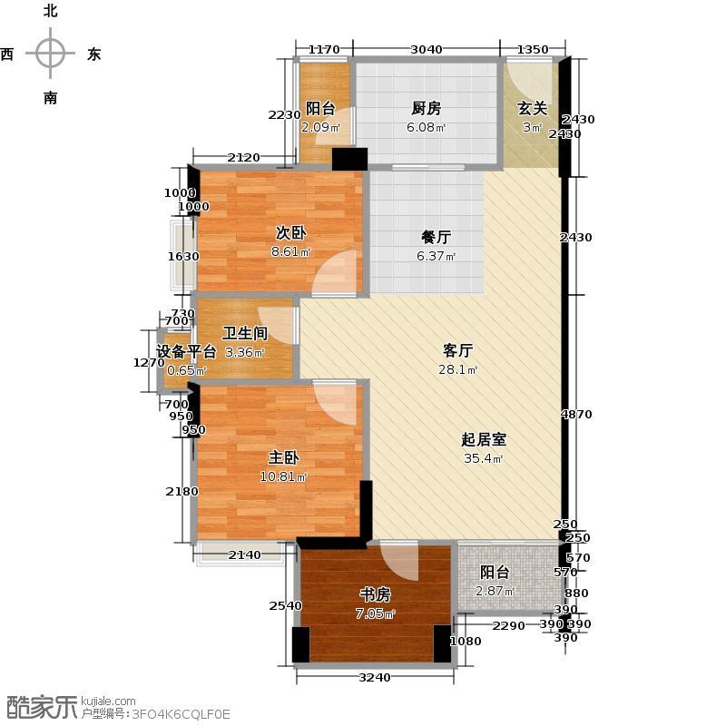 劲嘉金棕榈园85.77㎡1栋C座05单位户型3室2厅1卫