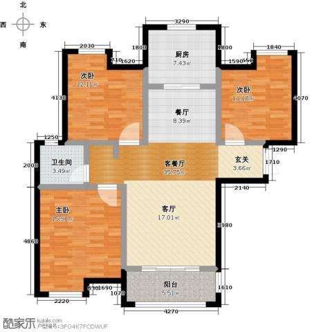 财信圣堤亚纳3室2厅1卫0厨106.00㎡户型图