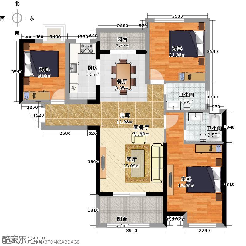 联发九都府130.00㎡1#楼A1户型3室2厅2卫