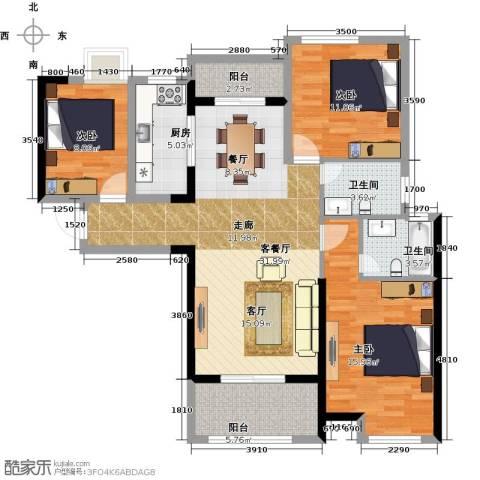 联发九都府3室2厅2卫0厨130.00㎡户型图