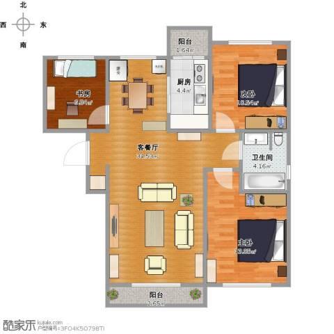 亿锋广场3室1厅1卫1厨107.00㎡户型图