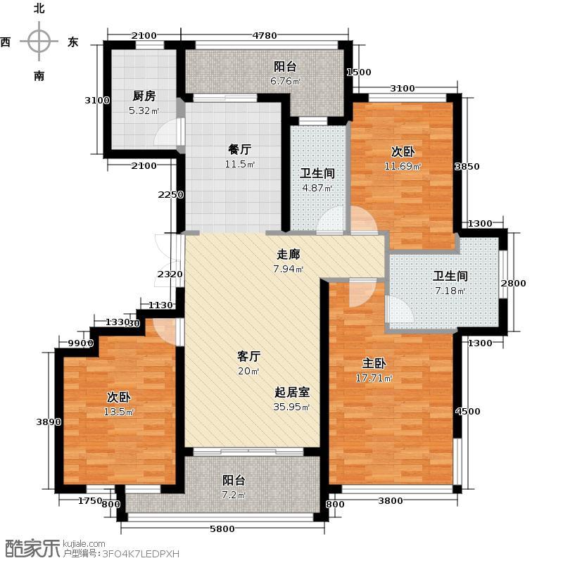 绿城之江1号146.00㎡4号楼标准层户型3室2厅2卫
