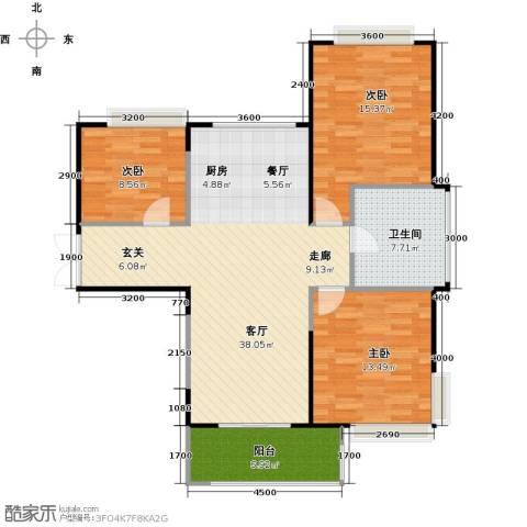 雅居乐云南原乡3室2厅1卫0厨97.00㎡户型图