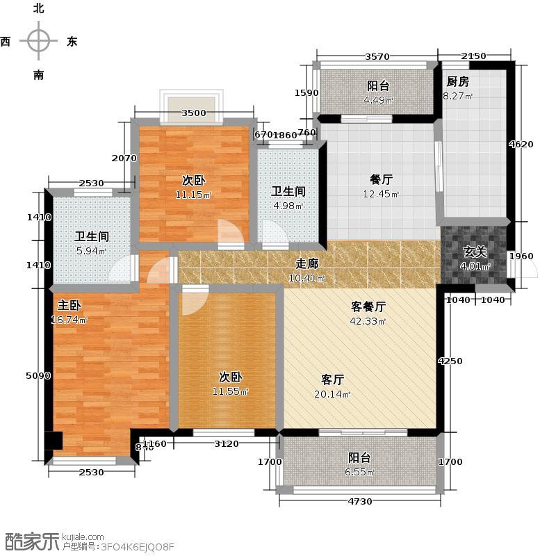 宝龙城市广场129.00㎡4#楼C两阳户型3室2厅2卫