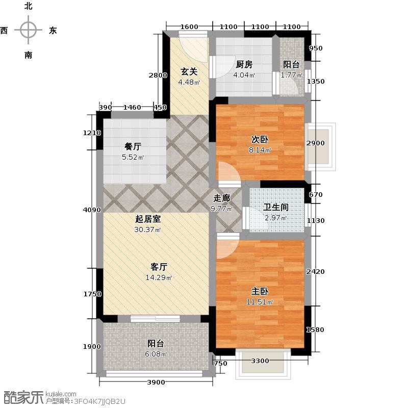 翰林世家88.33㎡8#楼A3户型3室2厅2卫