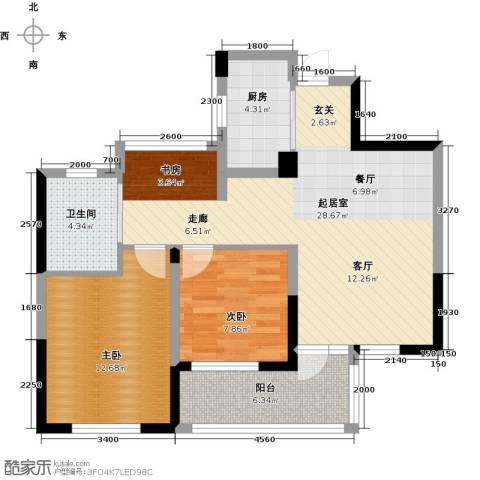 绿城之江1号2室2厅1卫0厨88.00㎡户型图