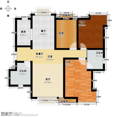 天庆格林小镇2室1厅2卫1厨145.00㎡户型图