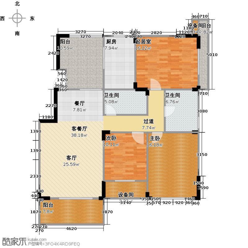 万鸿城市花园132.00㎡B3型户型2室1厅2卫1厨