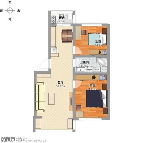 中天富城2室1厅1卫1厨87.00㎡户型图