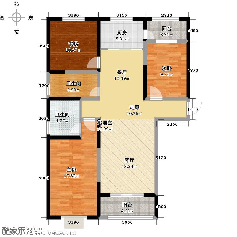 中闻传媒广场138.54㎡F户型3室2厅2卫