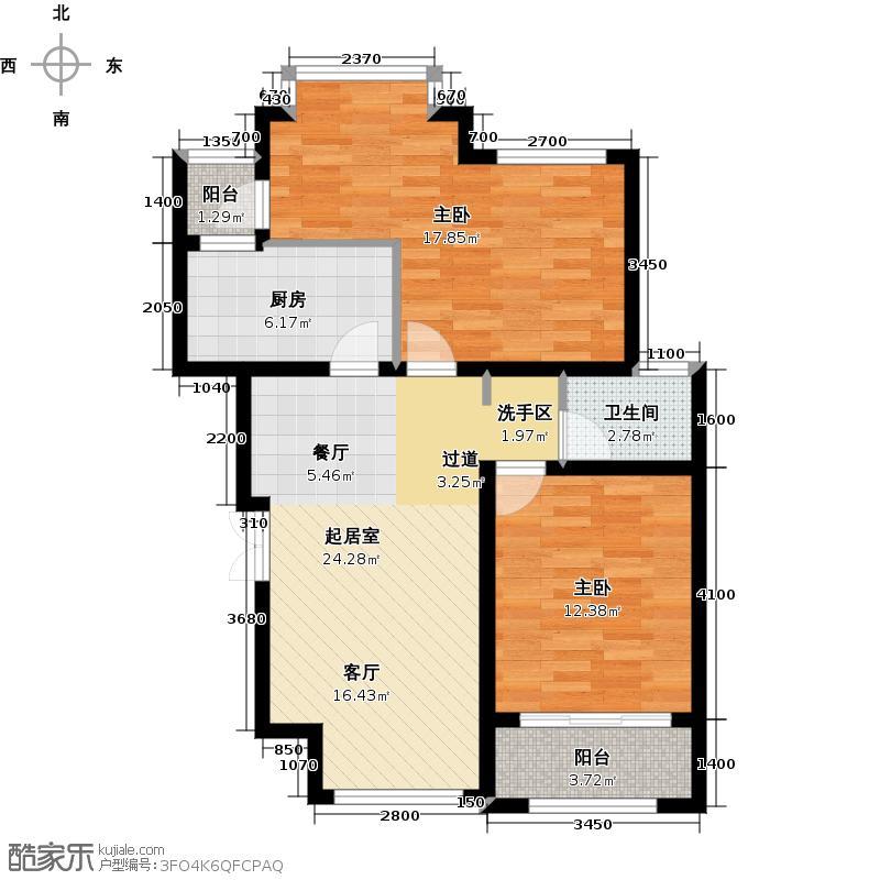 经建绅世郡88.06㎡高层D4号楼户型2室2厅1卫