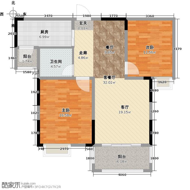 香堤澜湾2期爱琴岛90.00㎡青年社区A2户型2室2厅1卫-副本