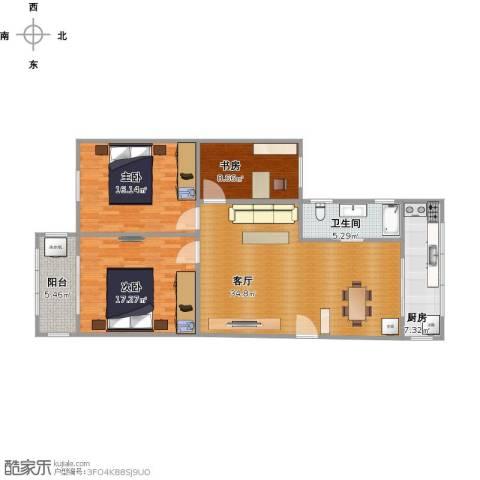 阳光世纪城3室1厅1卫1厨129.00㎡户型图