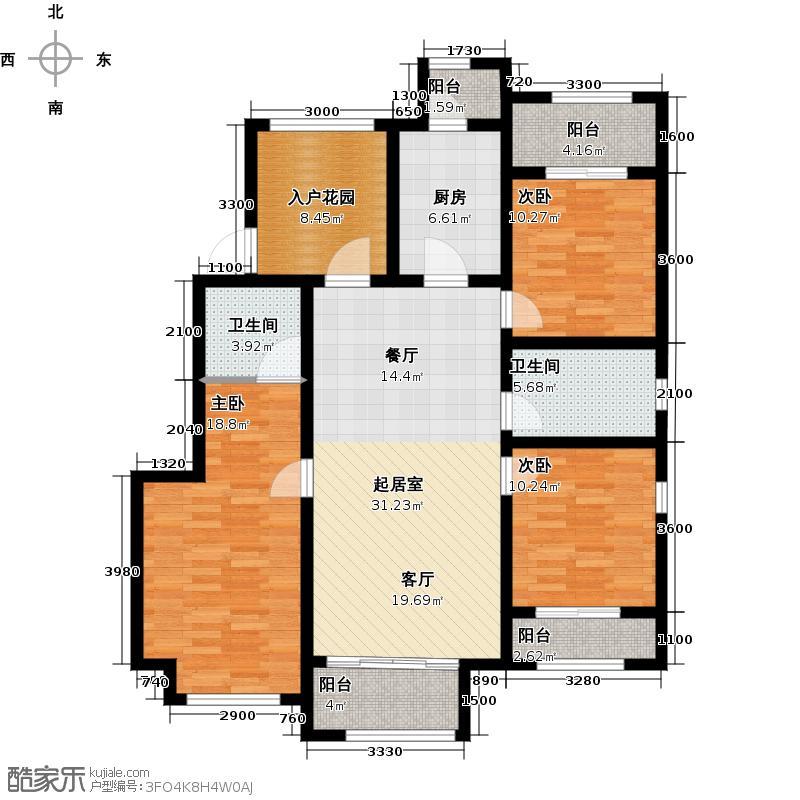 金科・廊桥水岸128.00㎡户型3室2厅2卫