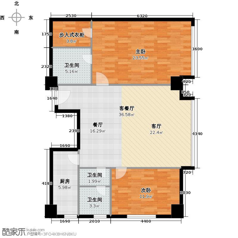 世纪星城・长城国际138.56㎡D座G-11户型2室2厅2卫