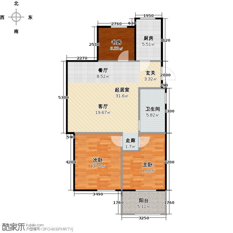 荣安望江南85.00㎡A奇数层1、3、6、7边套户型3室2厅1卫