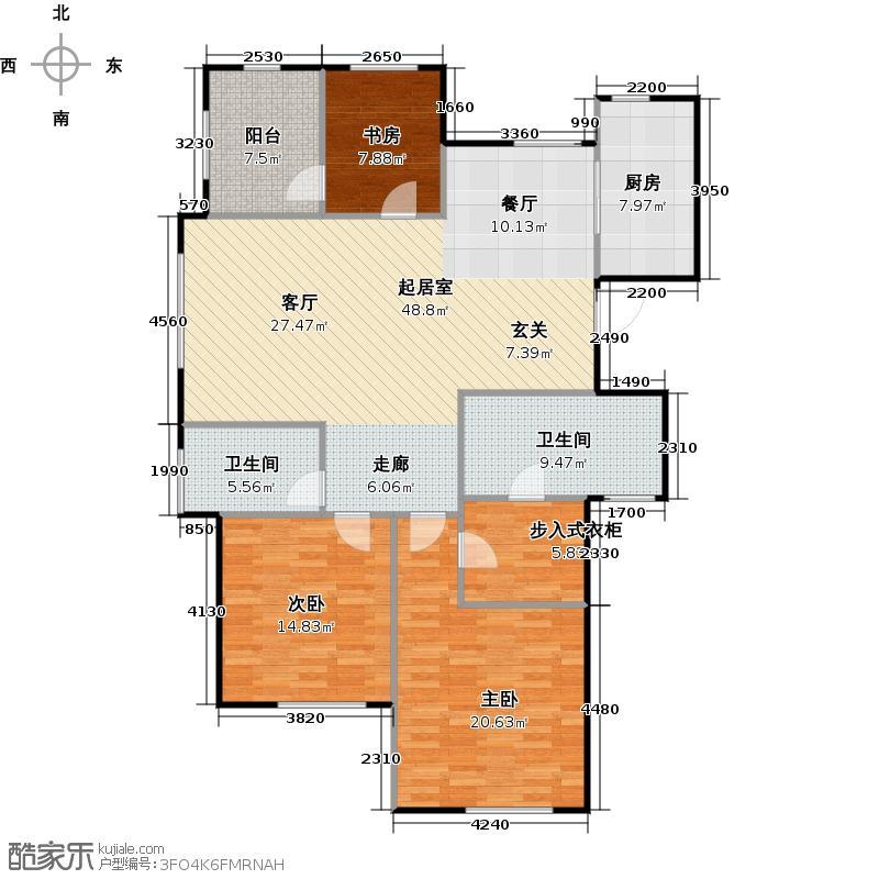 荣安望江南137.00㎡C偶数层2、4楼边套户型3室2厅2卫