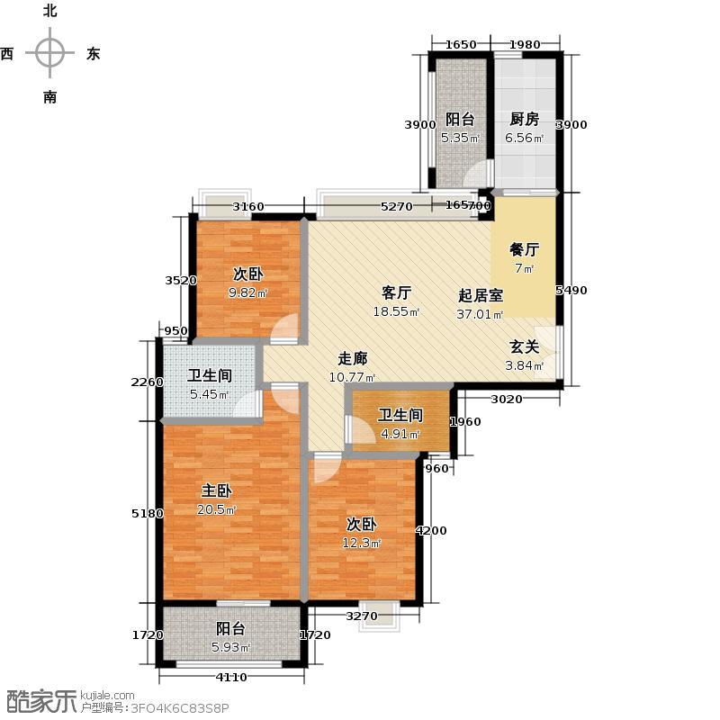 越秀星汇城121.00㎡AB1号楼和B2号楼户型3室2厅2卫