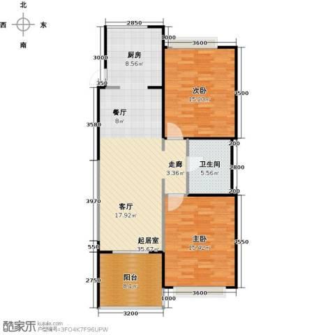 雅居乐云南原乡2室2厅1卫0厨88.00㎡户型图