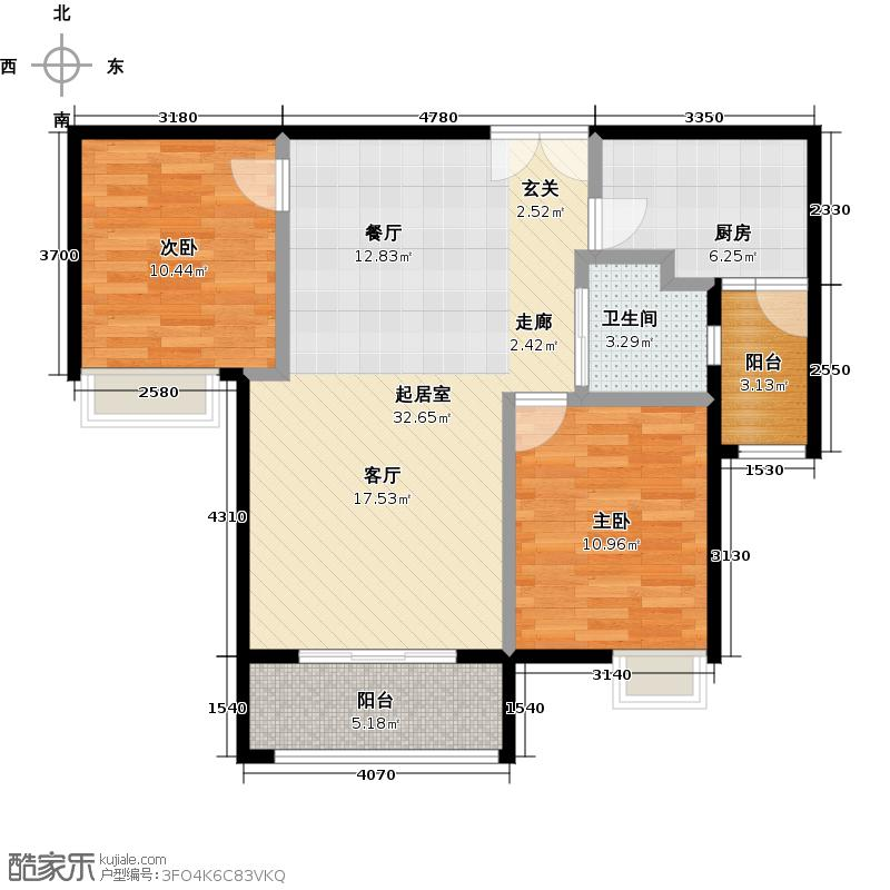 越秀星汇城81.00㎡FB3号楼和B4号楼中间套户型2室2厅1卫