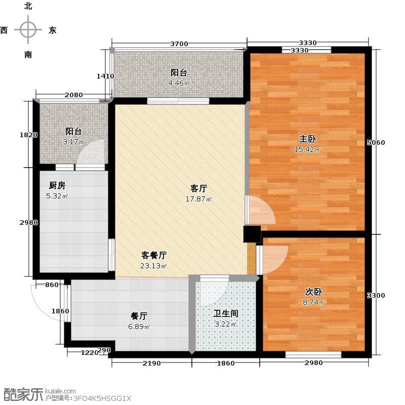 锦湖金利花园83.70㎡一期A4户型2室1厅1卫1厨