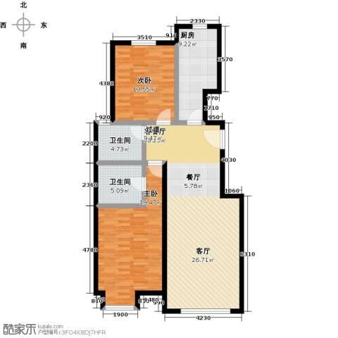 融科钧廷二期2室2厅2卫0厨103.00㎡户型图
