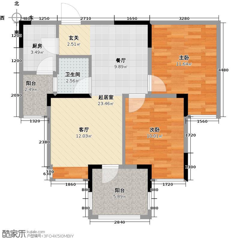 华宇金沙时代58.88㎡三期2号楼3-29层5号房户型2室1卫1厨