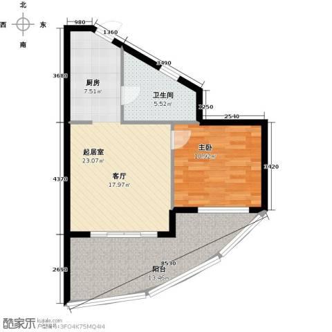 佳兆业东戴河1室1厅1卫0厨60.00㎡户型图