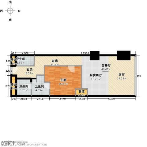 东方之门1室1厅2卫0厨95.00㎡户型图