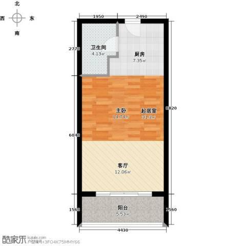 佳兆业东戴河1室1厅1卫0厨46.00㎡户型图