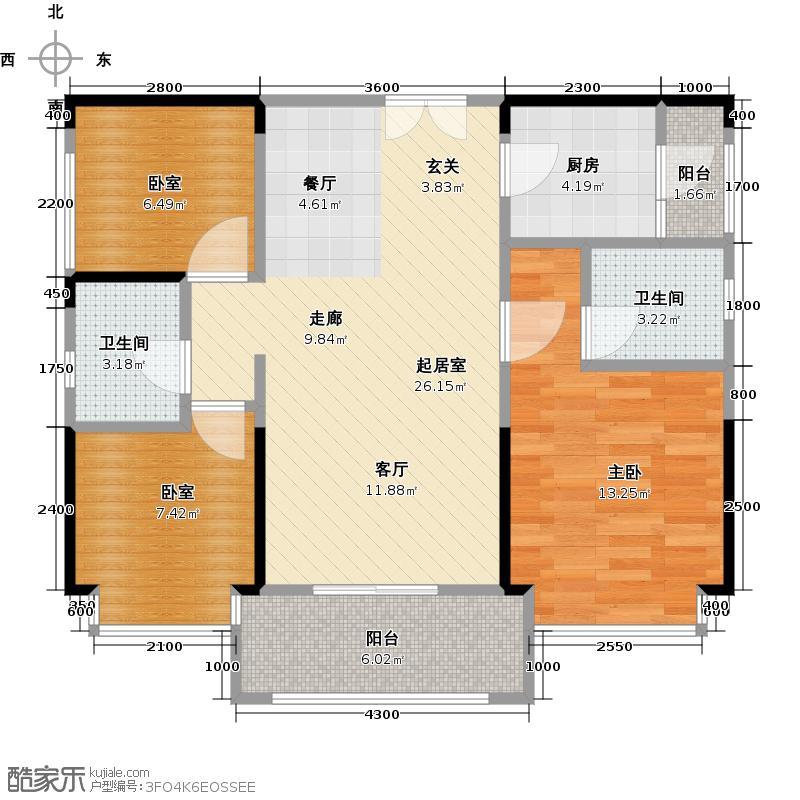 中洲中央公园87.00㎡E2户型3室2厅2卫