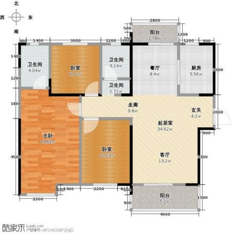 名湖豪庭3室2厅2卫0厨126.00㎡户型图