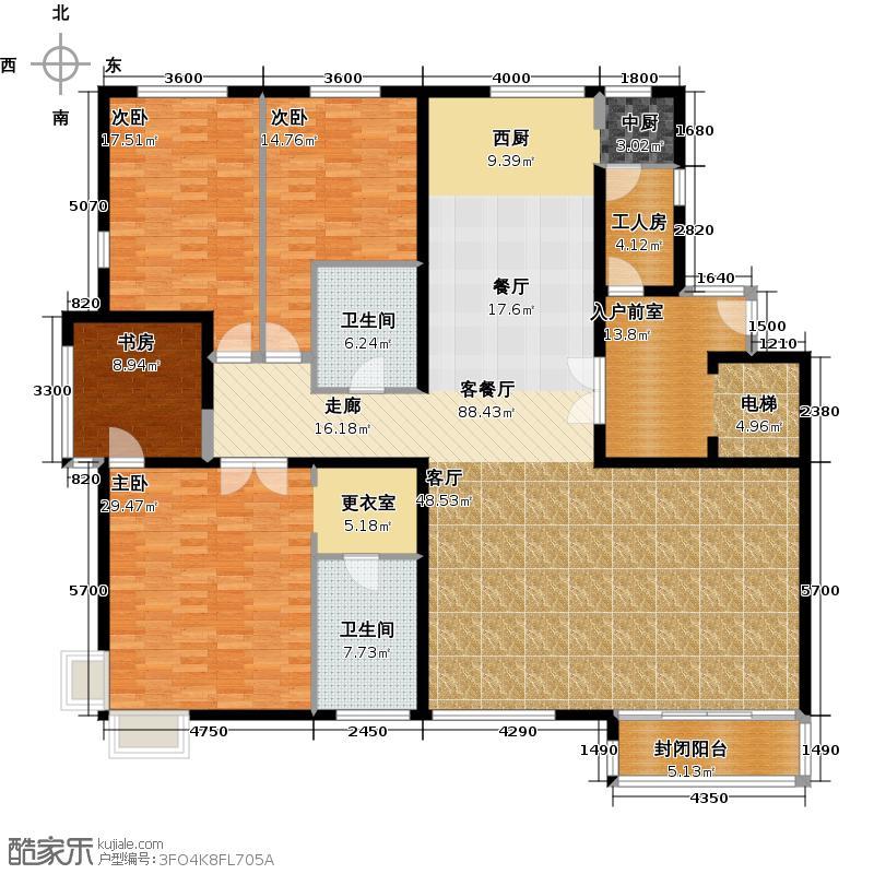 领秀新硅谷230.00㎡C7#户型4室2厅2卫