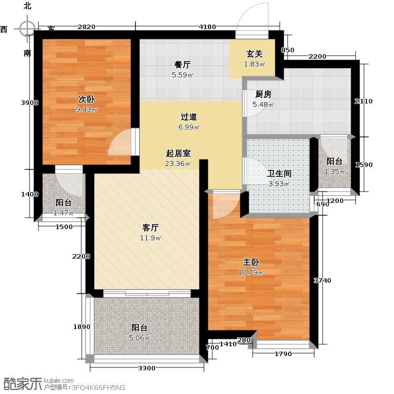 宝安江南城88.00㎡高层F-01户型2室2厅1卫